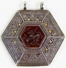 STERLING SILVER & CARVED CARNELIAN ASIAN PENDANT