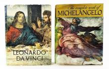 2 LARGE ART BOOKS ILLUSTRATED MICHELANGELO DA VINC