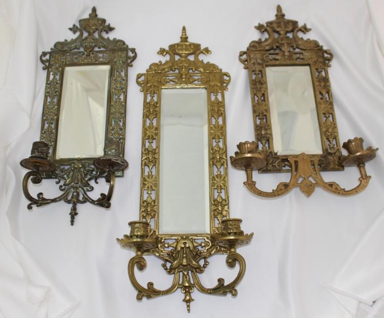 Mirrored Wall Sconces For Candles : THREE MIRRORED WALL CANDLE SCONCES
