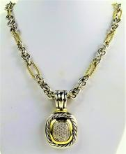 DAVID YURMAN 18KT Y GOLD STERLING DIAMOND NECKLACE