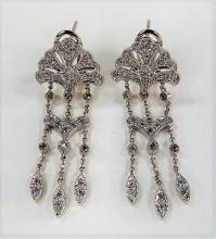 PR LADIES 14KT WG & DIAMOND CHANDELIER EARRINGS