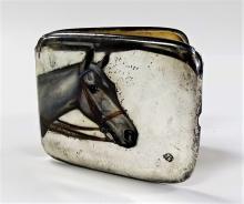 ENAMELED SILVER HORSE PORTRAIT CIGARETTE CASE