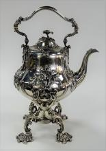 VICTORIAN STERLING SILVER KETTLE ON LAMPSTAND