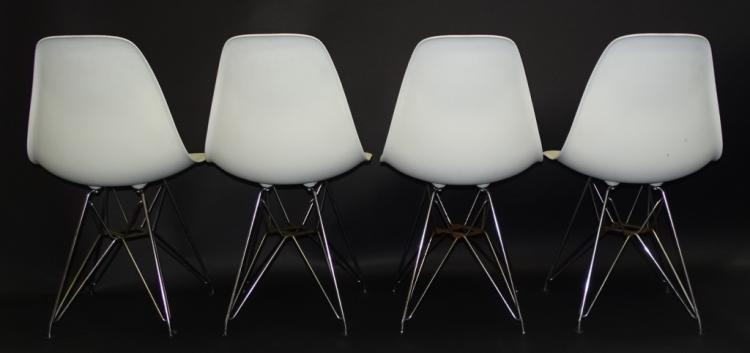 4 eames white egg shell chairs for herman miller. Black Bedroom Furniture Sets. Home Design Ideas