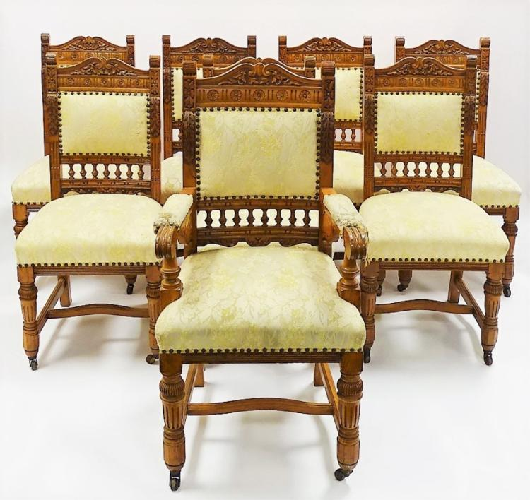 8 Bird 39 S Eye Maple Upholstered Dining Chairs