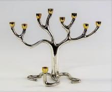 VINTAGE JUDAIC SILVER TREE OF LIFE MENORAH