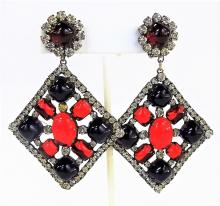 VTG KJL JEWELED COSTUME JEWELRY EARRINGS