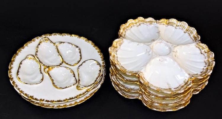6PCS LIMOGES FRANCE PORCELAIN OYSTER DISHES