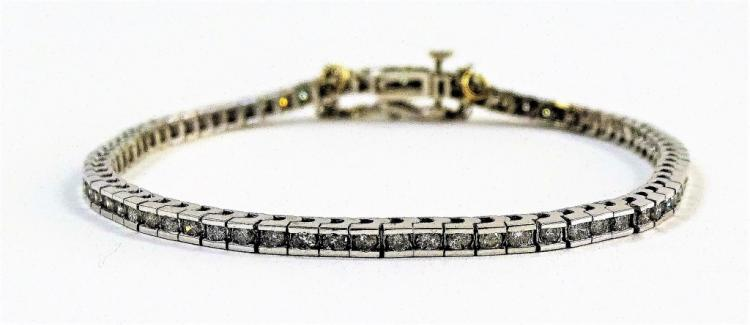 LADIES 14KT WHITE GOLD DIAMOND TENNIS BRACELET