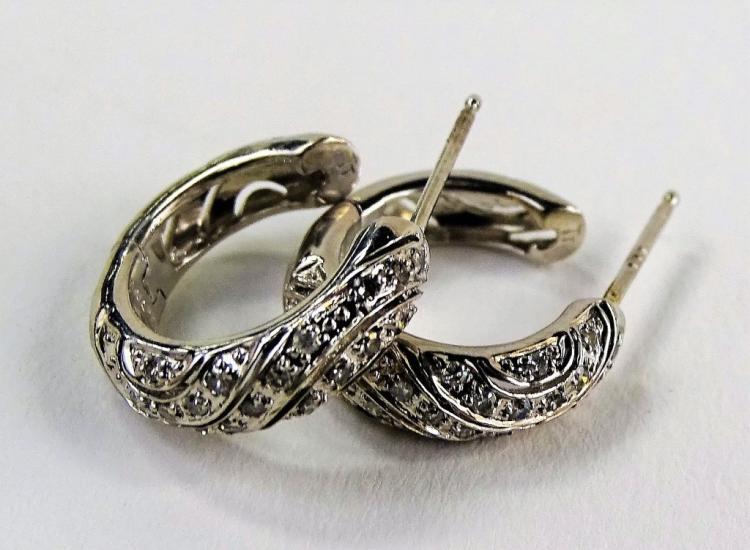 PR LADIES 14KT WG DIAMOND HUGGIE EARRINGS