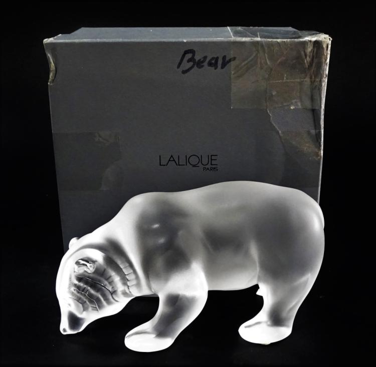LALIQUE FROSTED CRYSTAL BEAR FIGURINE