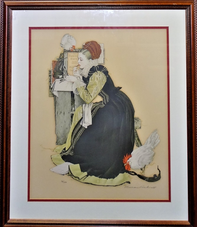 ORIGINAL NORMAN ROCKWELL LITHOGRAPH OF A LADY