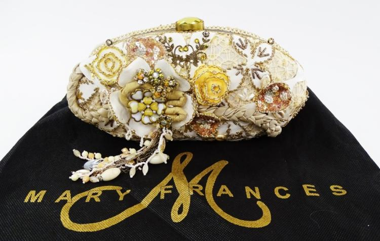 MARY FRANCES WOMENS BEADED & JEWELED WEDDING CLUTCH