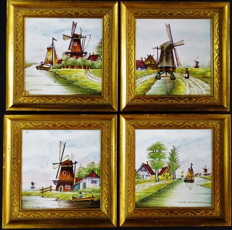 4 HAND PAINTED PORCELAIN TILE DUTCH SCENE