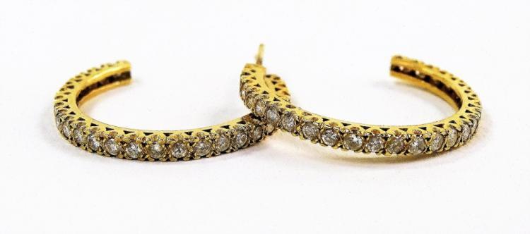 PR 14KT YELLOW GOLD DIAMOND HOOP EARRINGS