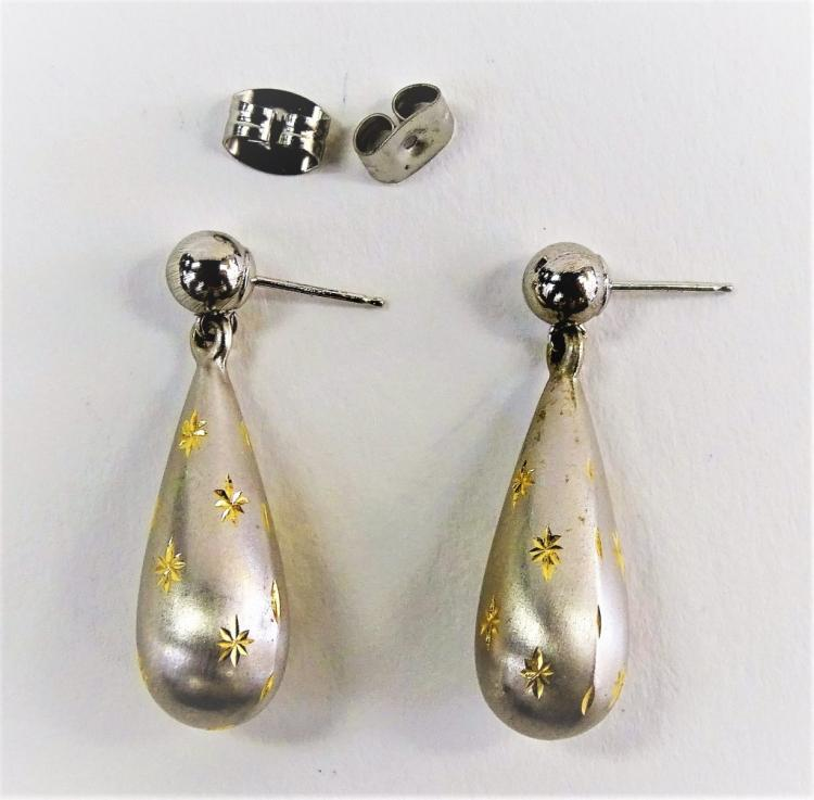PR LADIES RETRO 14KT WG & STERLING DROP EARRINGS