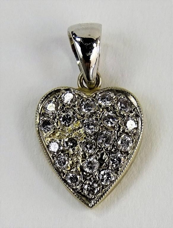 LADIES 18KT WG DIAMOND ENCRUSTED HEART PENDANT