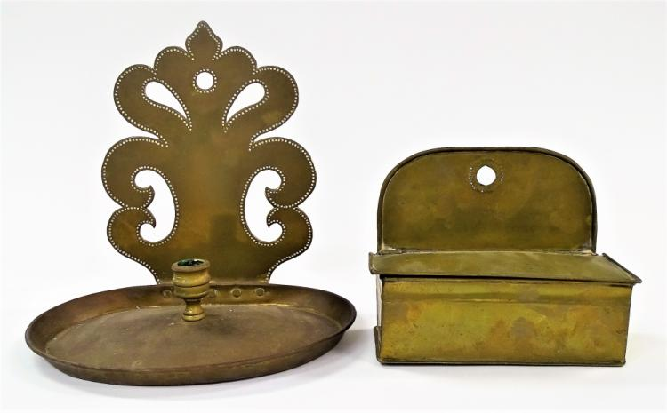 PAIR COLONIAL BRASS CANDLE BOX AND CANDLE HOLDER