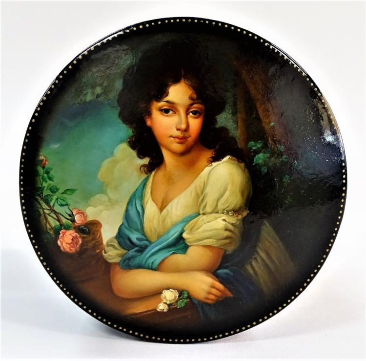 RUSSIAN HAND PAINTED BOX OF A BEAUTIFUL WOMAN