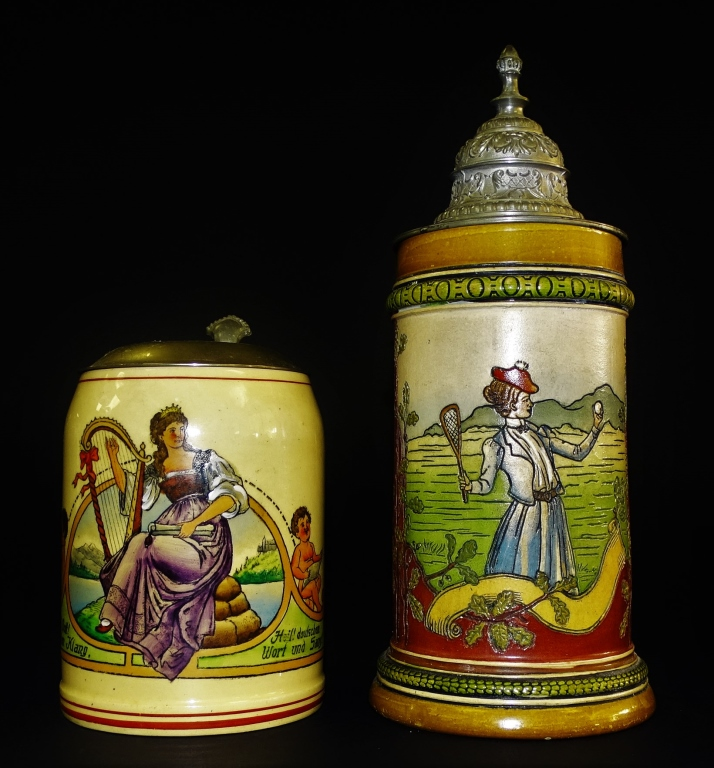 PAIR OF VINTAGE GERMAN PORCELAIN STEINS