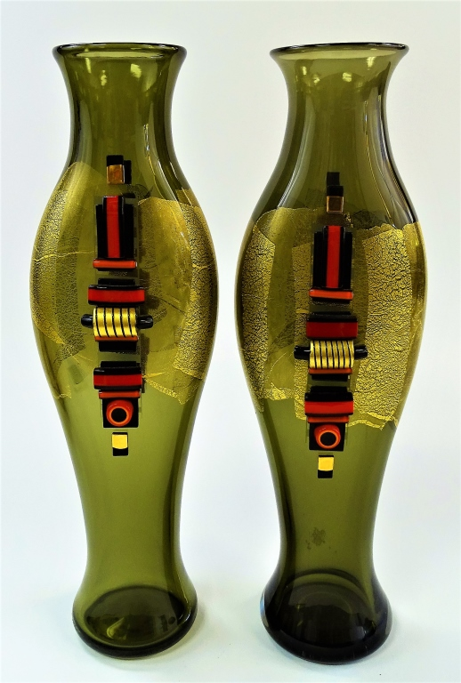 PAIR BLOWN STUDIO ART GLASS VASES