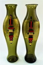 PAIR BLOWN STUDIO ART GLASS VASES