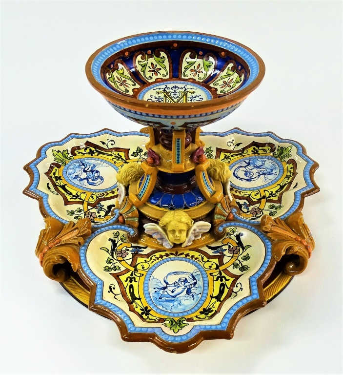 LATE 19TH C. FRENCH H/P FAIENCE CENTERPIECE