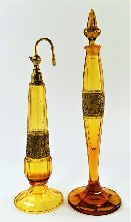 MOSER BOHEMIAN AMBER GLASS COLOGNE & PERFUMER