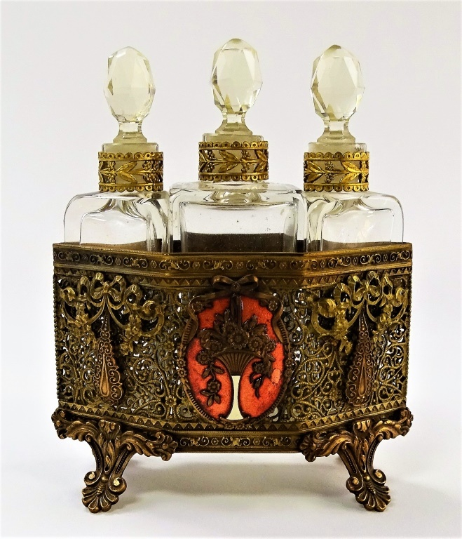 3PC 19TH C. AUSTRIAN ENAMELED PERFUME BOTTLE CADDY