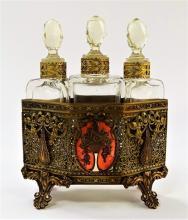 3PC 19TH C. AUSTRIAN ENAMELED PERFUME BOTTLE CADDY