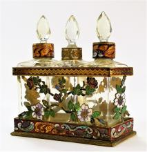 ANTIQUE FRENCH CHAMPLEVE ENAMELED PERFUME CADDY