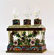 3PC FRENCH CHAMPLEVE ENAMELED PERFUME CADDY