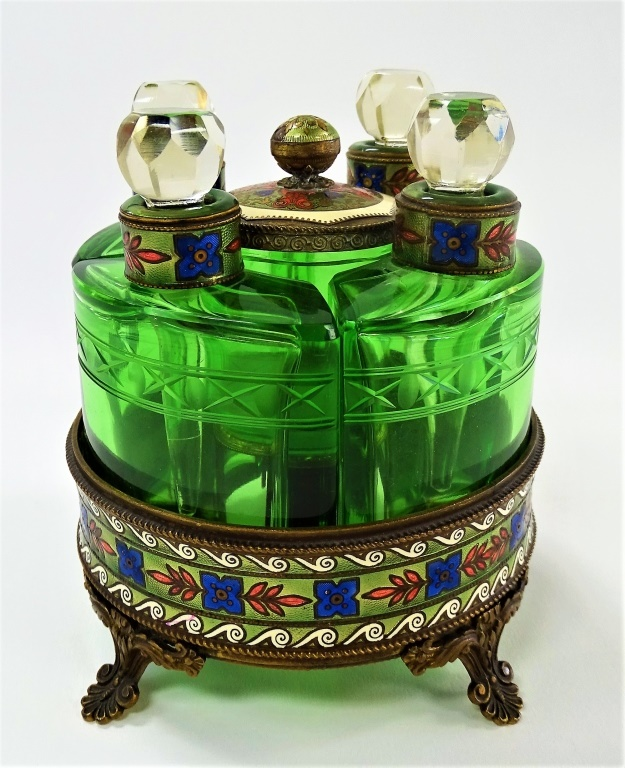 5PC FRENCH ENAMELED GILT BRASS PERFUME CADDY