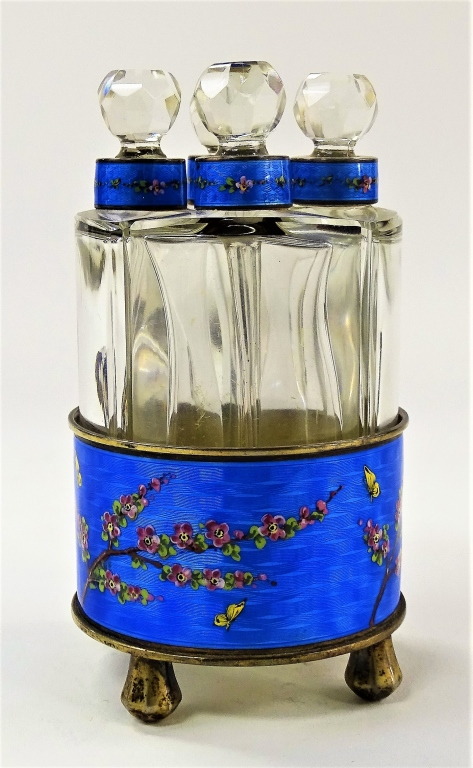 4PC GERMAN GUILLOCHE STERLING PERFUME CADDY