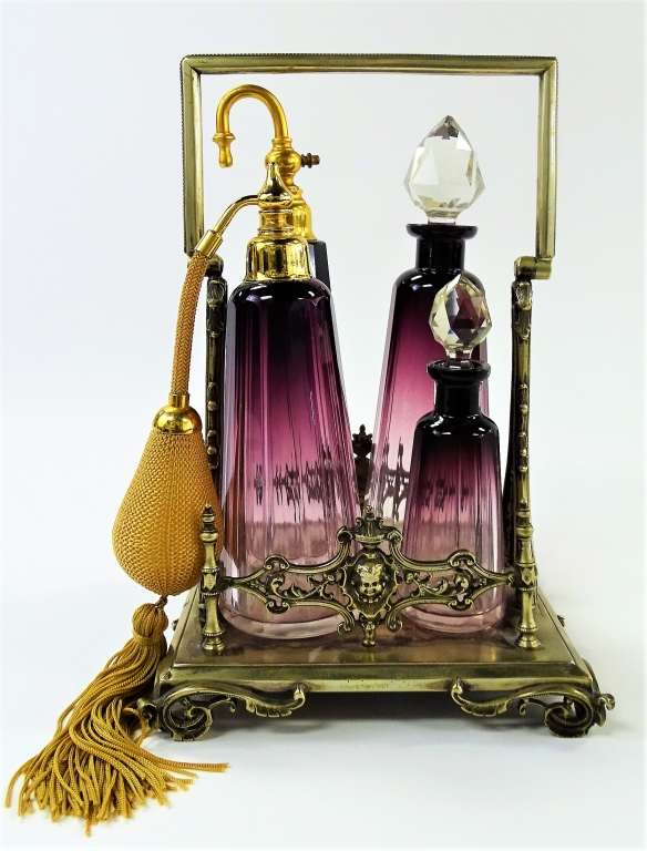 INCREDIBLE FRENCH CUT CRYSTAL PERFUME CADDY