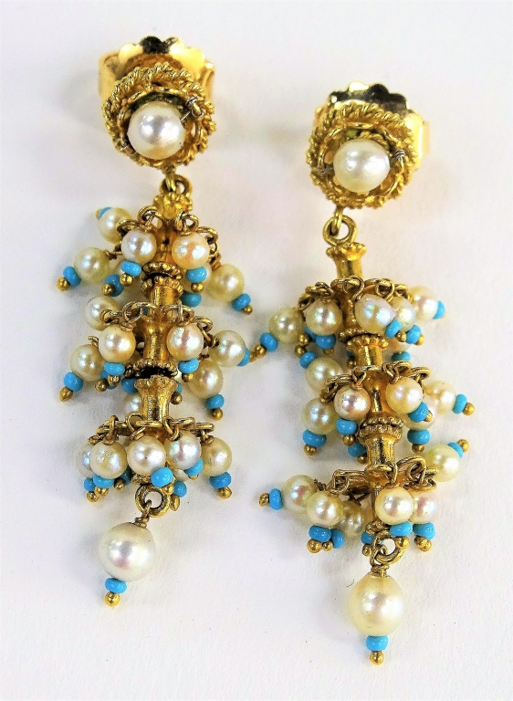 VINTAGE 18KT Y GOLD, SEED PEARL TURQUOISE EARRING