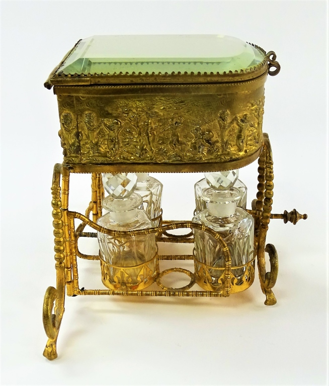 ANTIQUE FRENCH GILT BRONZE MIRRORED PERFUME CADDIE