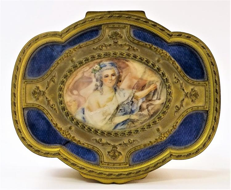 ANTIQUE FRENCH GILT BRASS ENAMELED JEWELRY CASKET