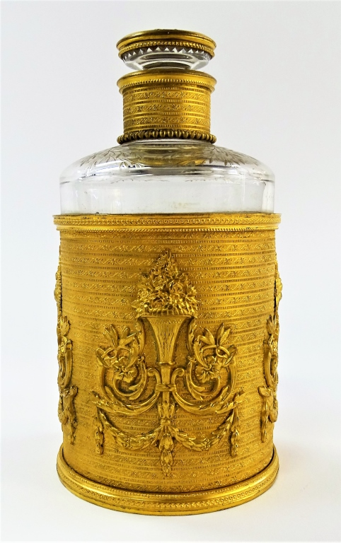 BACCARAT FRENCH EMPIRE STYLE BRONZE WRAPPED BOTTLE