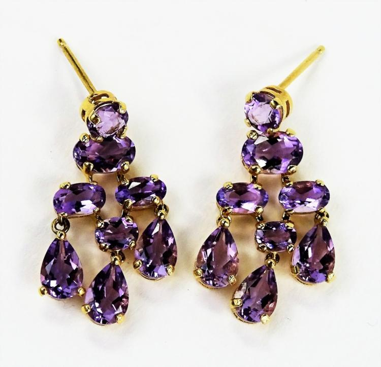 PR LADIES RETRO 14KT YG AMETHYST DROP EARRINGS