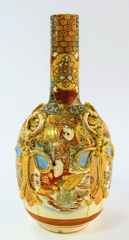 JAPANESE SATSUMA PORCELAIN BOTTLE VASE