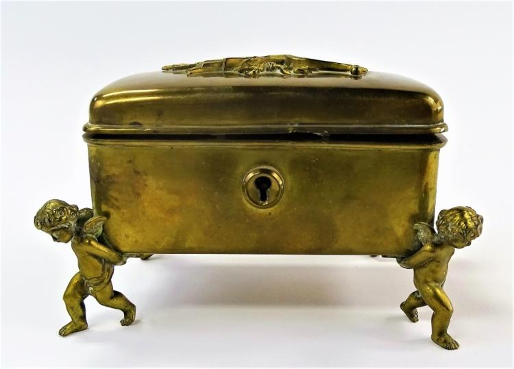 ANTIQUE FRENCH GILT BRASS JEWELRY CASKET