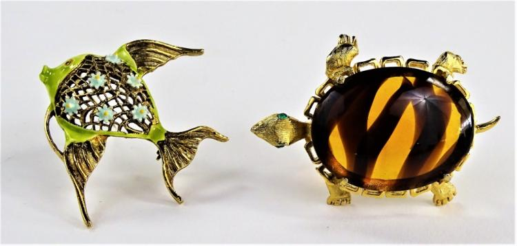2 VTG SIGNED COSTUME ANIMAL PINS TURTLE/ FISH
