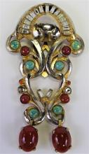 FRENCH DECO INCREDIBLE CLIP FAUX JADE/CARNELIAN