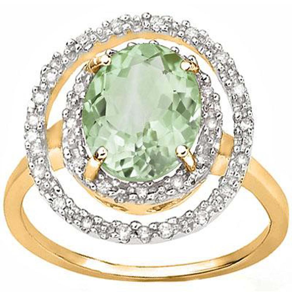 AMAZING 10K GOLD 2CT GREEN AMETHYST/DIAMOND HALO RING