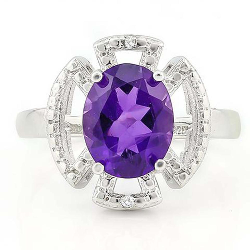 SHIMMERING 3CT OVAL AMETHYTS DECO STYLE RING