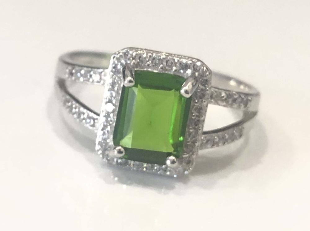 GORGEOUS 3CT GREEN QUARTZ DECO STERLING SILVER RING