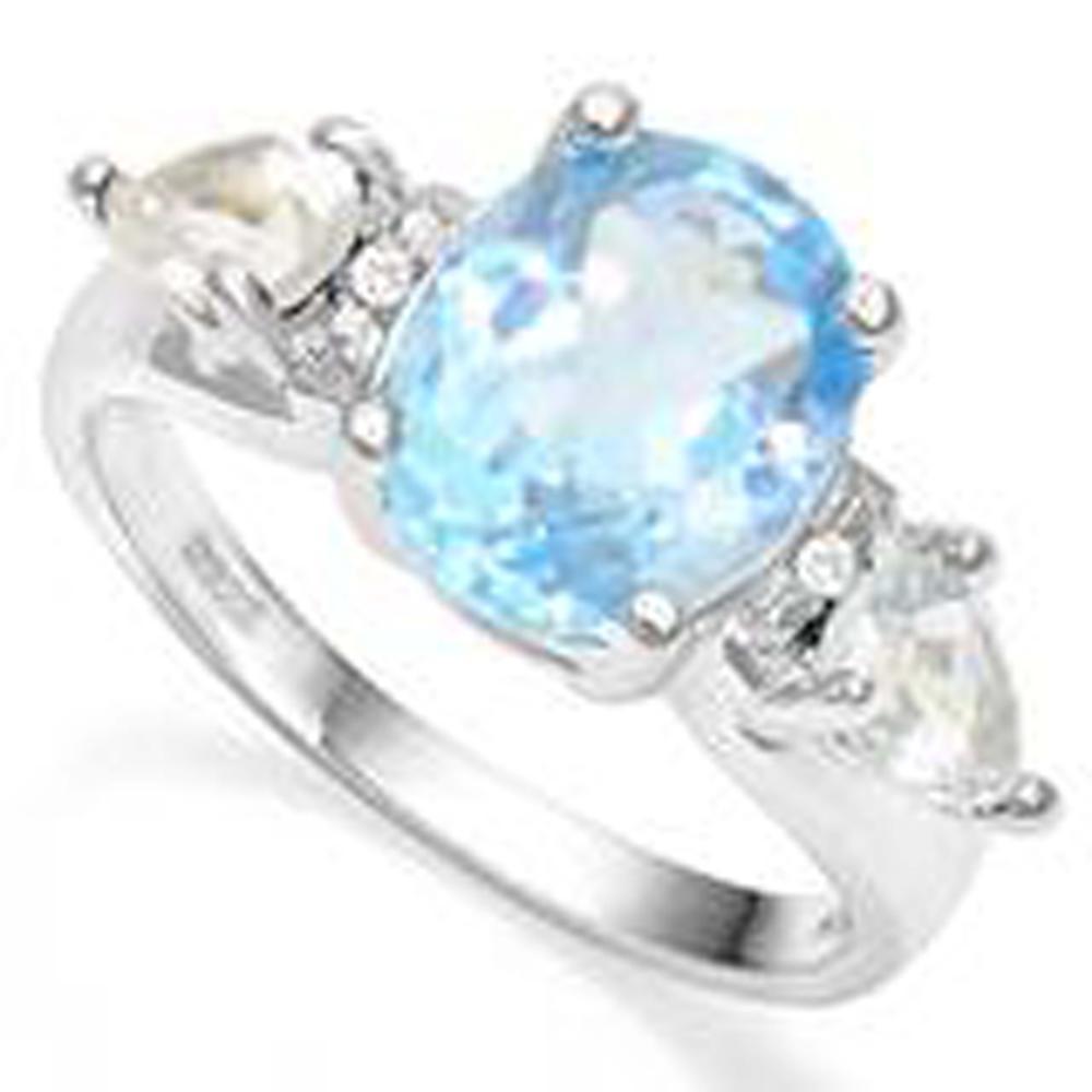 UNIQUE BLUE/WHITE TOPAZ SPARKLING 4CT STERLING RING