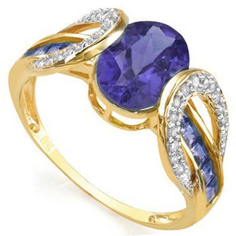 AMAZING 10K GOLD TANZANITE/DIAMOND 1CT DECO RING
