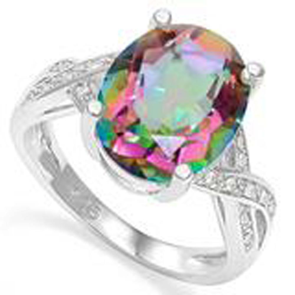 INTENSE 4CT MYSTIC TOPAZ FACETED OVAL STERLING RING